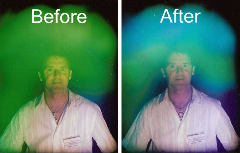Client showing Before and After effect on Aura